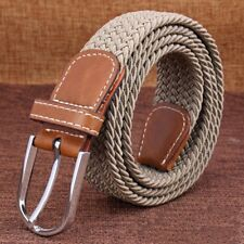 """Men's Leather Covered Buckle Woven Elastic Stretch Belt 1-1/4"""" Wide"""