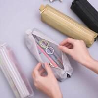 Simple Transparent Student Pen Pencil Case Nylon Mesh Pouch Makeup Bag Zipp#NA