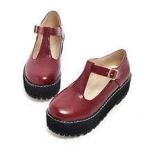 Women Round Toe T-Strap Buckle Flat Casual Creepers Platform Mary Jane Shoes