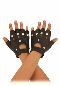 Studded Leather Faux Fingerless Gloves Goth Biker Punk Rock Cycling Driving