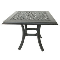 "Patio end table 24"" square outdoor cast aluminum accent pool side furniture."