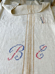 BEAUTIFUL Rustic Grainsack Mid-1800s PATCHED MONOGRAMMED Primitive Grain Sack