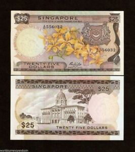 SINGAPORE 25 DOLLARS P4 1972 ORCHID UNC >> BROWNISH PAPER < RARE MONEY BANK NOTE