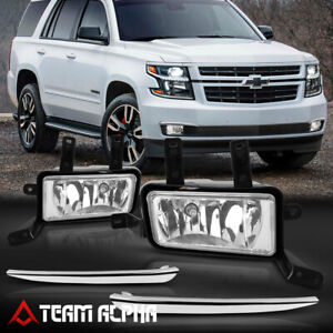 Fits 2015-2020 Chevy Suburban/Tahoe[Clear]Chrome Trim Fog Light w/Switch+Harness