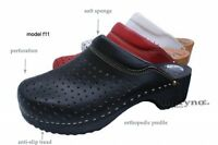 Women Clogs Swedish Medical Shoes Leather doctors nurses Black White Red F11