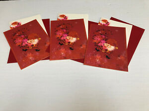 3~Vintage Christmas Greeting Cards Notes Envelopes Santa Claus Red
