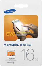Samsung EVO 16GB Micro SD SDHC MicroSD Card Class 10 48Mb/s MB-MP16D 16G 16 GB