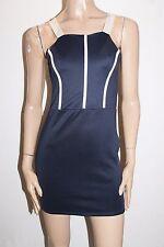 BOOHOO Designer Navy Petra Contrast Detail Bodycon Dress Size 10-S BNWT #SN57