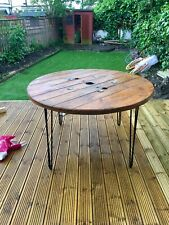 140cm Wooden Round Industrial Dining Garden Table Cable drum Upcycled Bespoke