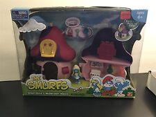 The Smurfs ~ Smurfette's Pink Mushroom House 8 piece set! Original Box Sealed!