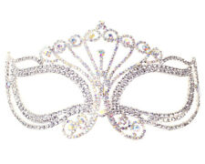 Silver AB Crystal Rhinestone Halloween Mardi Gras Masquerade Mask Prom Wedding