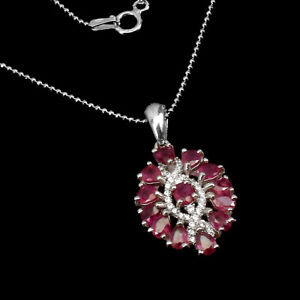 Oval Red Ruby 4x3mm Cz 14K White Gold Plate 925 Sterling Silver Necklace 18 Inch
