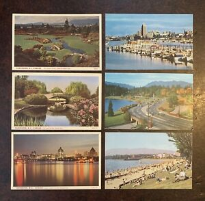 6 Lovely Old Vintage Postcards Vancouver Canada Stanley Park Waterfront