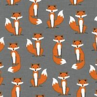 Robert Kaufman Cotton Fabric.Fabulous Foxes. Fox. Grey. By the FQ
