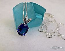 925 Sterling Silver pendant created 3 ct. Sapphire Blue medium Chain Necklace. @