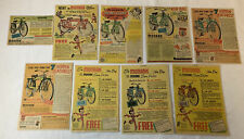 lot of nine 1940's-1950's MONARK BICYCLE ads~Super Deluxe~red,blue,green,yellow