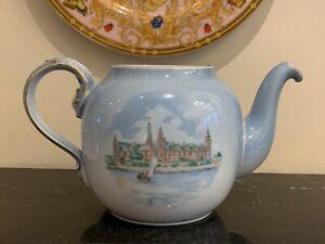 Bing & Grondahl Porcelain Denmark Historical Building Scene Teapot Pattern BIG36