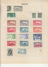 GIBRALTAR ALBUM PAGE,  VALUES MOSTLY GEORGE 6TH-QE 2ND, MOUNTED MINT