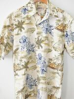 Campia Moda Tiki Hut Hibiscus Flower Blue Green Hawaiian Shirt Mens Size Small