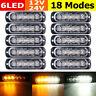 10X Amber/White 6 LED Car Emergency Beacon Warning Hazard Flash Strobe Light Bar