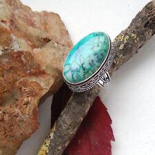 Dendriten Achat, blau, grün, groß, Ring, Ø 18,25 mm, Silber plattiert, neu
