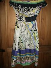 Debenhams Ladies Multi Coloured Floral Bandeau Dress Size 8