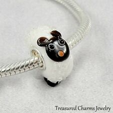 Sheep Lamb Lampwork Glass Large Hole Bead Charm fits European Bracelets
