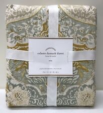 NEW Pottery Barn Celeste Damask TWIN Duvet Cover, GOLD