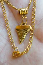 """1 SHARK TOOTH NECKLACE GOLD TONE METAL SHARK TEETH Charm 19"""" Gold Chain NEW!"""