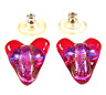 DICHROIC Post EARRINGS Glass Heart & Cross Red Opal Pink Blue Dichro GLASS STUD
