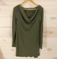 Anthropologie Pure + Good Size Small Ribbed Draped Neck Tunic Dress Army Green