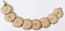 bracelet bijou vintage fleur en relief rose cérusé avec cabochon rose * 4518