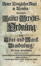 Brandenburg - Gerichtsordnung von 1709 - Original!!