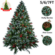 5/6/7FT Flocking Christmas Tree Stand Xmas Party Decor W/Red fruit+pine cone UK