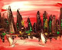 PINK SKY NYCITY  ART canvas painting Mark Kazav Original Oil Painting no reserve
