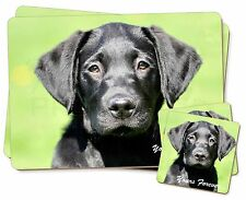Black Lab Puppy 'Yours Forever' Twin 2x Placemats+2x Coasters Set in G, AD-L2YPC