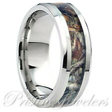 Real Oak Forest Camo Ring Brown Mossy Tree Mens 8mm Silver Tungsten Wedding Band