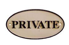 """Letrero """"Private"""" Hierro Hundido Entrada Oficina Privatzimmer Privatraum 9x17cm"""