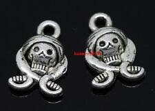 50pcs auspicious Tibet Silver pirates head Jewelry Finding Charm Pendant 15x10mm