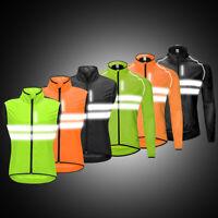 High Visibility Cycling Jacket Windstopper Reflective Jersey Bike Sports Hi Viz