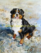 More details for sale bernese mountain signed dog print by susan harper unmounted