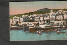 unmailed post card Alger vue prise de la jetee ships docked at port