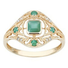 10k Yellow Gold Vintage Style Genuine Emerald and Diamond Ring size 7