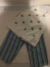 Girls Size 6x Peaches & Cream Whales Tank With Striped Peddle Pushers