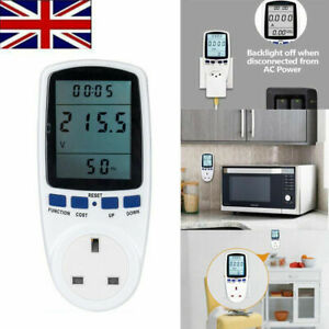 UK Plug Electricity Power Consumption Meter Energy Monitor Watt Kwh Analyzer 13A