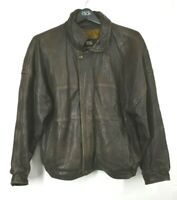 VTG London Fog Mens Brown Snap Zip Long Sleeve Leather Casual Bomber Jacket L