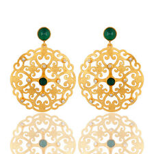 Green Onyx Filigree Disc Designer Earrings 18k Gold Plated Party Wear Jewelry