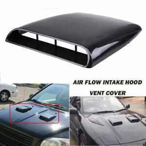 Car Decorate Air Flow Intake Hood Scoop Bonnet Vent Sticker Cover Carbon Black