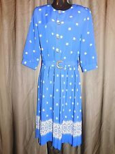Vtg. BRELI ORIGINALS Teacher ELECTRIC BLUE & WHITE DRESS Church Women's Size 14