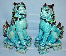 Pair Set Chinese Porcelain Pottery FOO DOG Figurine Statue Shishi Lion Asian Art